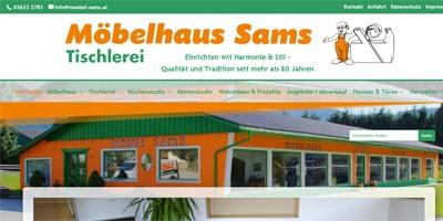 Referenzbild Internetauftritt von Möbelhaus und Tischlerei Sams