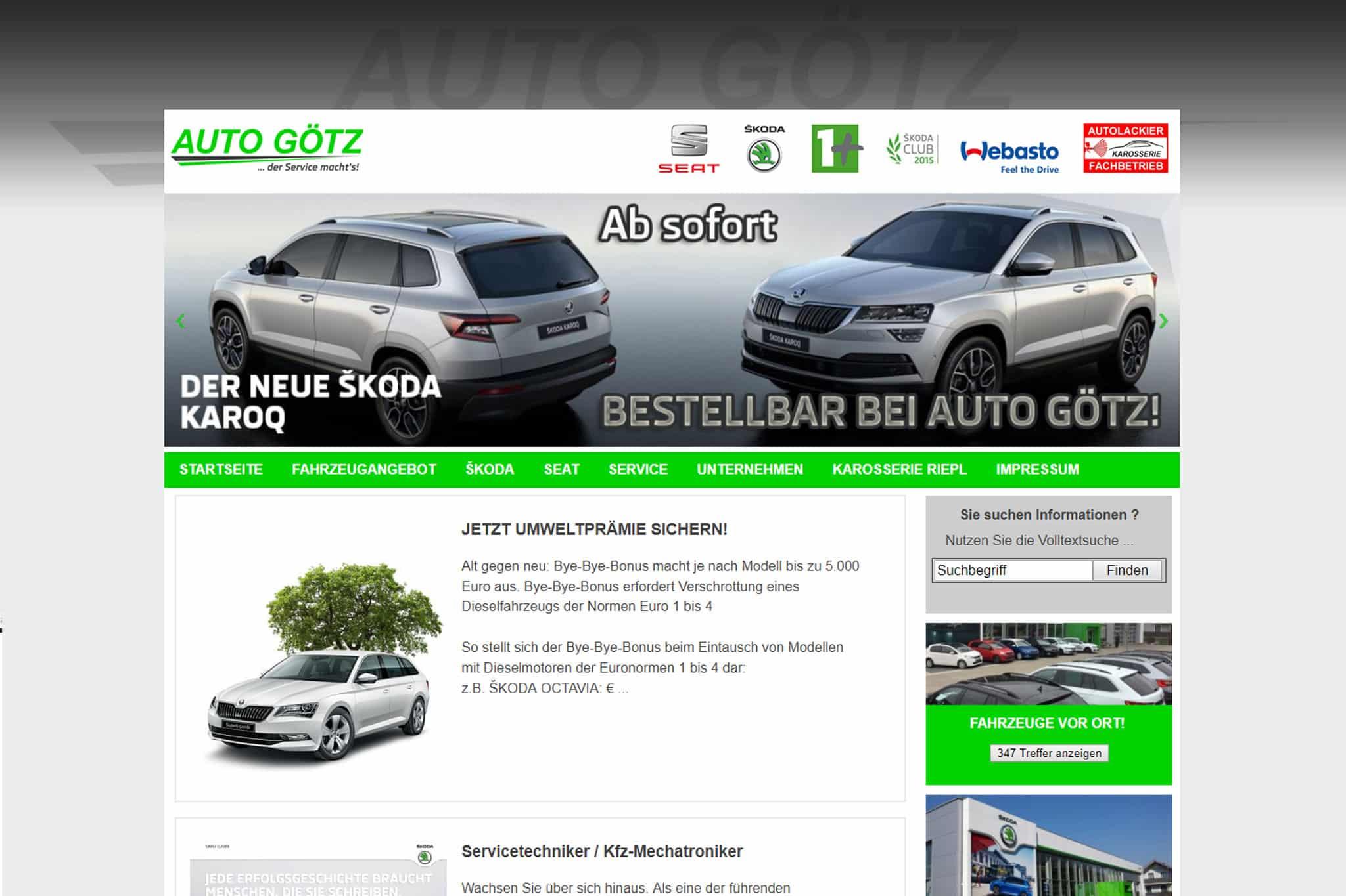 Referenzbild Autohaus Götz GmbH - Internetauftritte